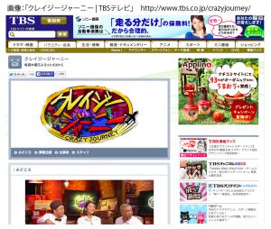 TV番組:『クレイジージャーニー』TBS 2015年7月30日(木)PM11:53〜
